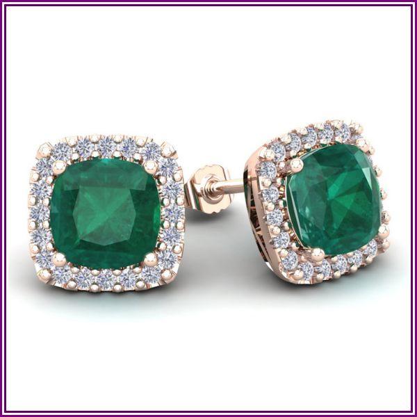 4 3/4 Carat Cushion Cut Emerald & Halo Diamond Stud Earrings in 14K Rose Gold (3.7 g), I/J by SuperJeweler from SuperJeweler