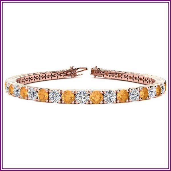 8 1/2 Carat Citrine & Diamond Tennis Bracelet in 14K Rose Gold (11.1 g), 6 1/2 Inches,  by SuperJeweler from SuperJeweler