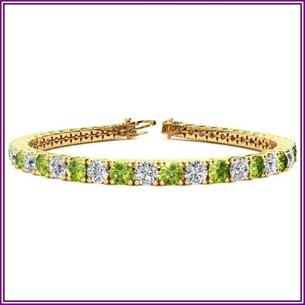 11 1/5 Carat Peridot & Diamond Tennis Bracelet in 14K Yellow Gold (14.6 g), 8.5 Inches, I/J by SuperJeweler from SuperJeweler