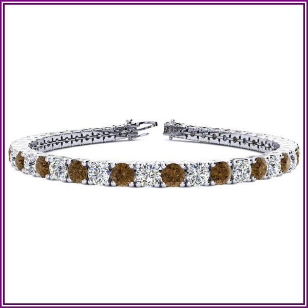 9 3/4 Carat Chocolate Bar Brown Champagne & White Diamond Tennis Bracelet in 14K White Gold (12.9 g), 7.5 Inches, I/J by SuperJeweler from SuperJeweler
