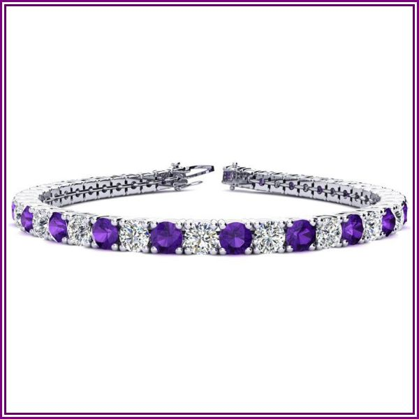 9 1/5 Carat Amethyst & Diamond Tennis Bracelet in 14K White Gold (12 g), 7 Inches, I/J by SuperJeweler from SuperJeweler