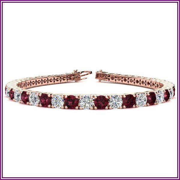 11 3/4 Carat Garnet & Diamond Tennis Bracelet in 14K Rose Gold (14.6 g), 8.5 Inches, I/J by SuperJeweler from SuperJeweler