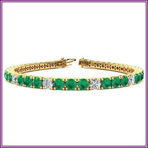 12.5 Carat Emerald Cut & Diamond Alternating Tennis Bracelet in 14K Yellow Gold (13.7 g), 8 Inches,  by SuperJeweler from SuperJeweler