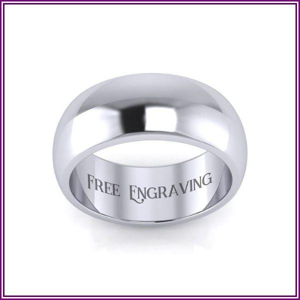 Platinum 8MM Heavy Ladies & Men's Wedding Band, Size 7.5, Free Engraving by SuperJeweler from SuperJeweler