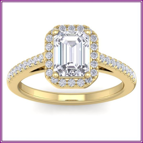 2 Carat Emerald Cut Halo Diamond Engagement Ring in 14K Yellow Gold (4.30 g), H-I, Size 4 by SuperJeweler from SuperJeweler