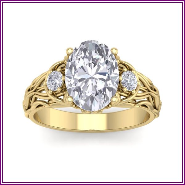 3 1/4 Carat Oval Shape Diamond Intricate Vine Engagement Ring in 14K Yellow Gold (5.80 g) (, I1-I2 Clarity Enhanced), Size 4 by SuperJeweler from SuperJeweler