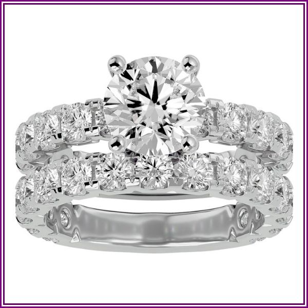5 Carat Round Diamond Bridal Ring Set in 14K White Gold (8 g) (H-I, SI2-I1), Size 4 by SuperJeweler from SuperJeweler