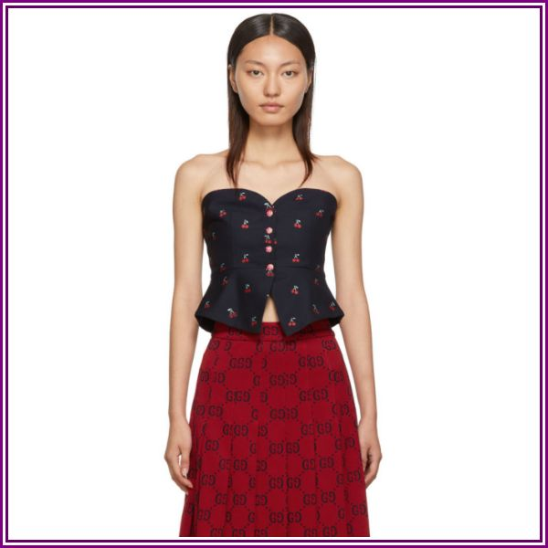 Gucci Navy Cherry GG Bustier from SSENSE