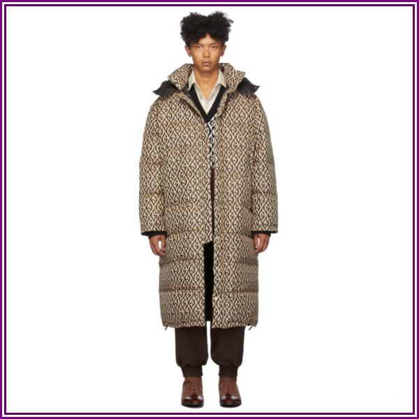 Gucci Black and Beige Down Mini G Rhombus Coat from SSENSE