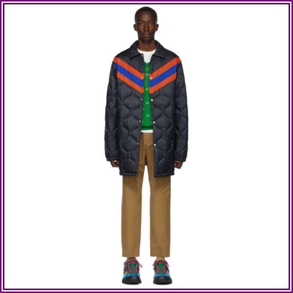 Gucci Navy Striped Lightweight Gardens Coat from SSENSE