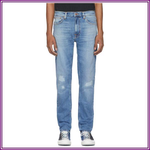 Nudie Jeans Blue Lean Dean Repairs Jeans from SSENSE