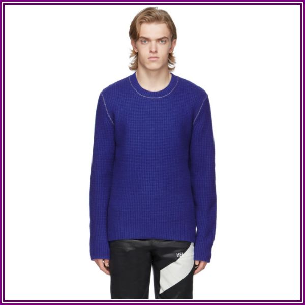 Helmut Lang Blue Wool Overwashed Felted Sweater from SSENSE