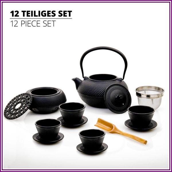 Lumaland Tea Set of 12. Cast Iron Black Hobnail tetsubin Teapot (1,4 Liter): 4 Tea Cups and Saucer Set with Bamboo dosing Scoop from OnBuy.com