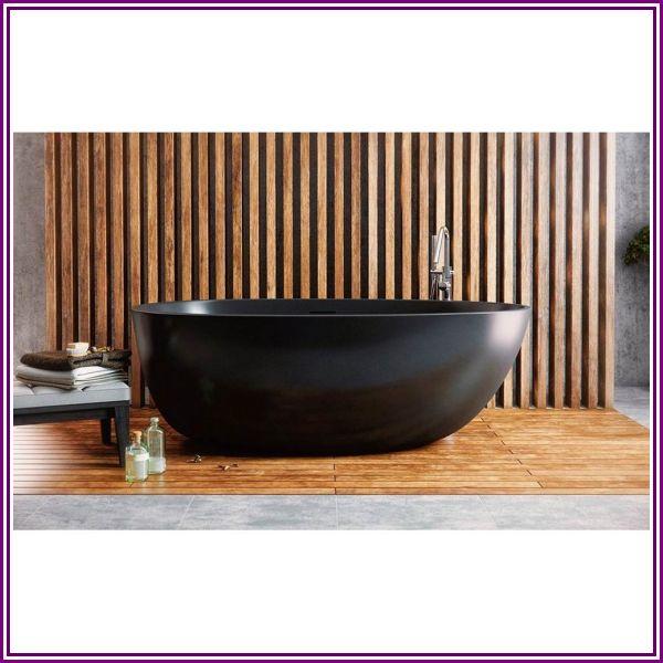 Aquatica Spoon 2 Egg Shaped Graphite Black Solid Surface Bathtub - Matte Black from Modern Bathroom