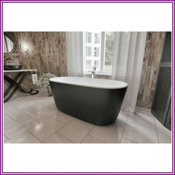 Aquatica Lullaby-Mini-Blck-Wht Freestanding Solid Surface Bathtub - Matte Black and White from Modern Bathroom
