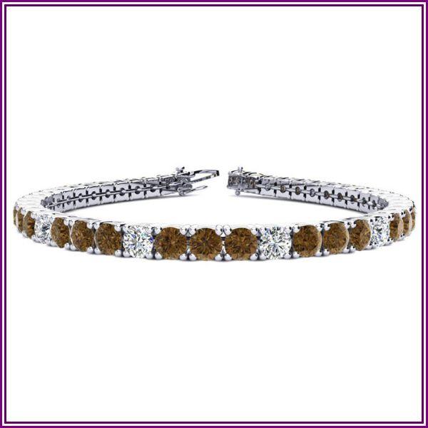 9 3/4 Carat Chocolate Bar Brown Champagne & White Diamond Alternating Men's Tennis Bracelet in 14K White Gold (12.9 g), 7.5 Inches, I/J by from SuperJeweler