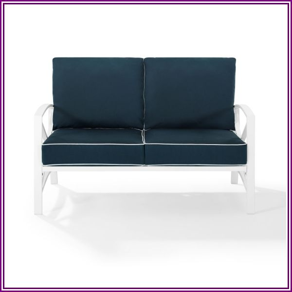 Crosley Kaplan Patio Loveseat in Navy and White from UnbeatableSale.com