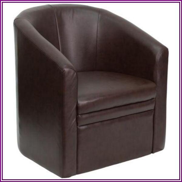 Flash Furniture Leather Barrel-Shaped Guest Chair, Brown from MedEx Supply