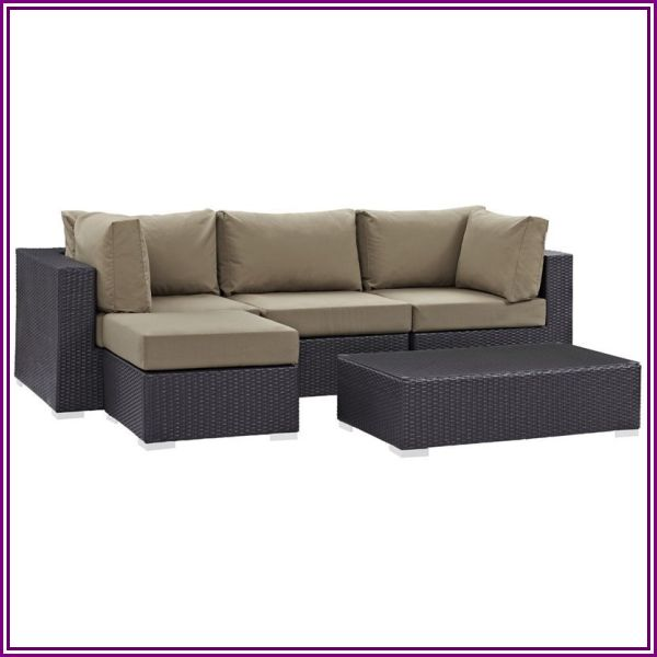 Modway Convene 5 Piece Patio Sofa Set in Espresso and Mocha from LexMod.com