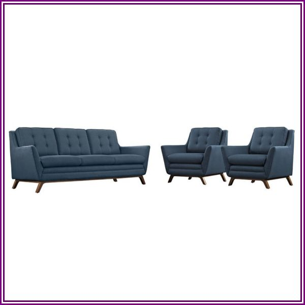Modway Beguile 3 Piece Fabric Sofa Set in Azure from HomeSquare