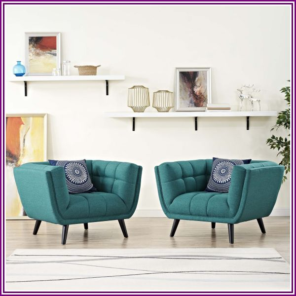 Bestow 2 Piece Upholstered Fabric Armchair Set in Teal from LexMod.com